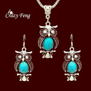 Jewelry - 🆕SetSterling925Turquiose Owl Earrings & Necklace